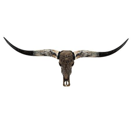 Carved Longhorn Skull // Antique Bronze Mandala // Metallic Finish