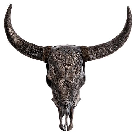 Carved Cow Skull // Gray Boho