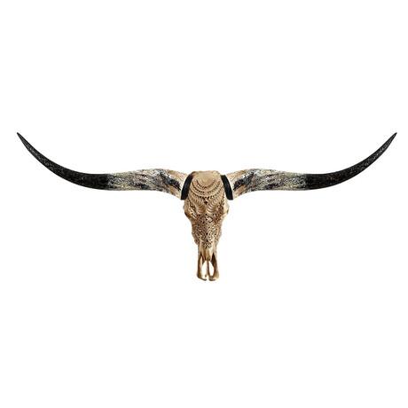 Carved Longhorn Skull // Golden Boho