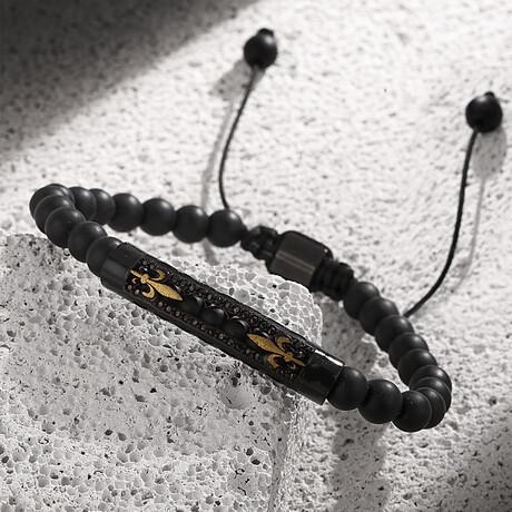Natural Lilium Adjustable Bracelet // Black