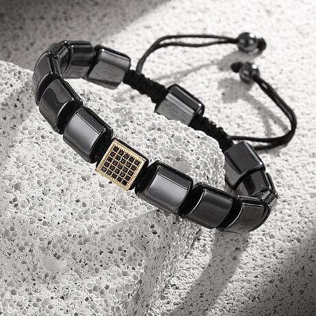 Natural Zircon Adjustable Bracelet // Smoke + Gold