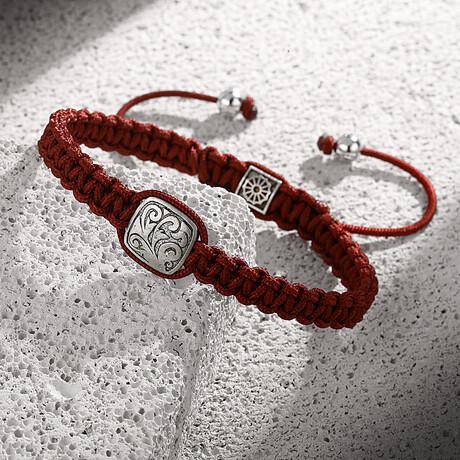 Bronze-Rope Adjustable Bracelet // Claret Red