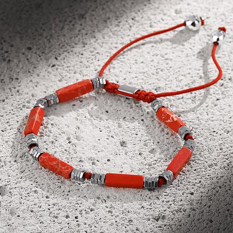 Natural Stone Adjustable Bracelet // Red