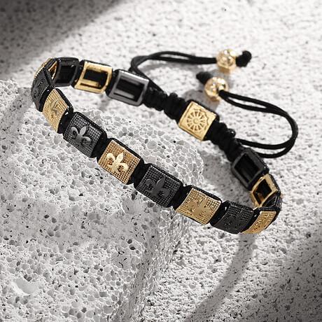 Brass Lily Adjustable Bracelet // Black + Gold
