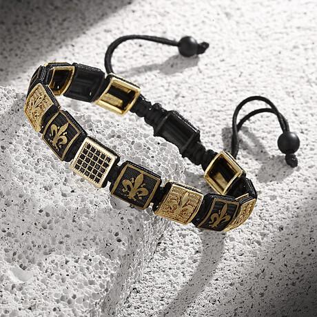Brass Lily Zircon Adjustable Bracelet // Black + Gold