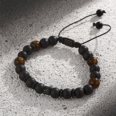 Natural Stone Adjustable Bracelet // Black Tiger Eye