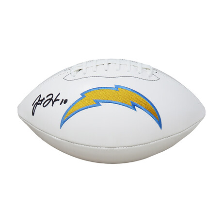 Justin Herbert //  Signed Los Angeles Chargers White Logo Football // Beckett Authenticated