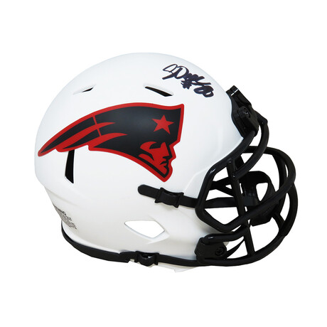 Corey Dillon // Signed New England Patriots Lunar Eclipse White Matte Riddell Speed Mini Helmet