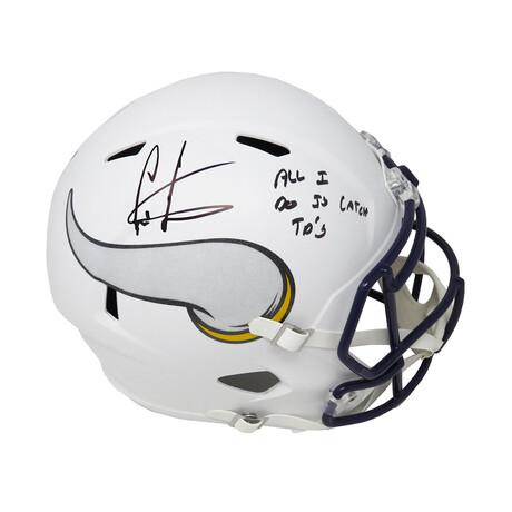 """Cris Carter // Signed Minnesota Vikings Flat White Matte Riddell Full Size Speed Replica Helmet // """"All I Do Is Catch TD's"""" Inscription"""