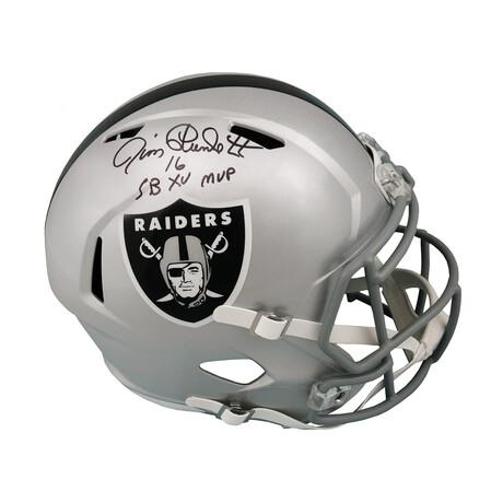 """Jim Plunkett // Signed Raiders Riddell Full Size Speed Replica Helmet // """"SB XV MVP"""" Inscription"""
