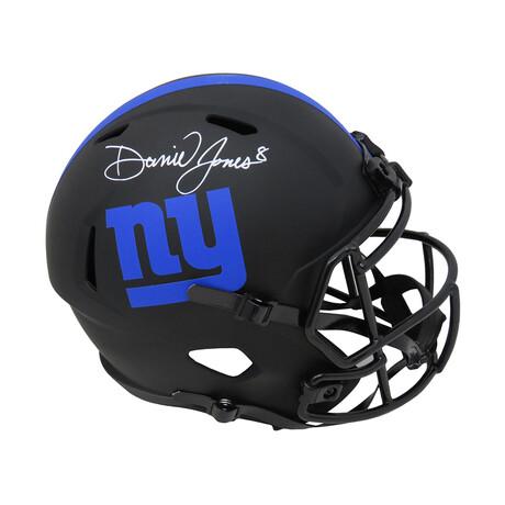 Daniel Jones // Signed New York Giants Eclipse Black Matte Riddell Full Size Speed Replica Helmet