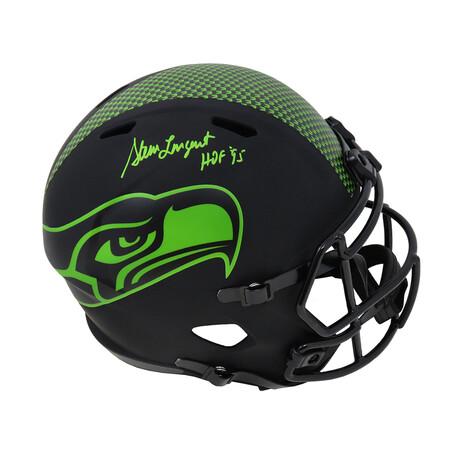"""Steve Largent // Signed Seattle Seahawks Eclipse Riddell Full Size Speed Replica Helmet // Green """"HOF'95"""" Inscription"""