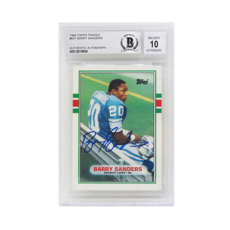 Barry Sanders // Signed Detroit Lions 1989 Topps Rookie Card #83T // Beckett Authenticated - Auto Grade 10