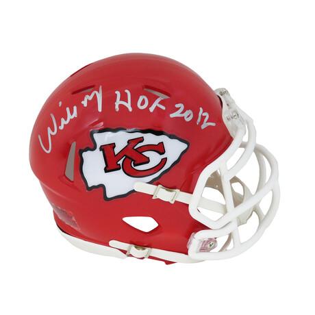 "Willie Roaf // Signed KC Chiefs Riddell Speed Mini Helmet // ""HOF 2012"" Inscription"