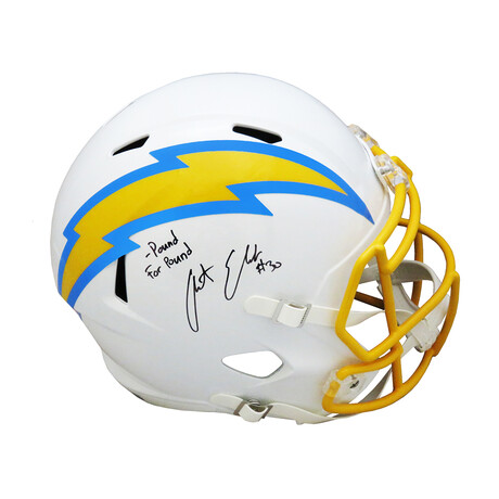 """Austin Ekeler // Signed Los Angeles Chargers Riddell Full Size Speed Replica Helmet // """"Pound For Pound"""" Inscription"""