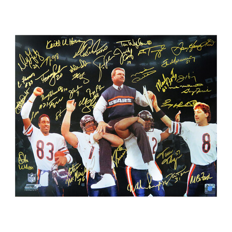 1985 Chicago Bears Team Signed Super Bowl XX Ditka Carried Off Field Spotlight 16x20 Photo LE/20 (34 Sigs)
