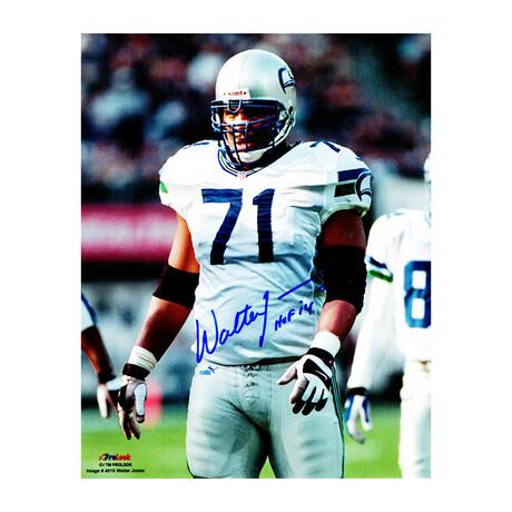 "Walter Jones // Signed Seattle Seahawks White Jersey Action 8x10 Photo // ""HOF'14"" Inscription"