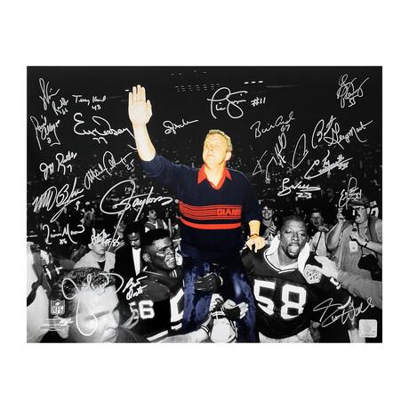 "New York Giants Super Bowl XXI & XXV Team Signed Photo // Bill Parcells Carried Off Field Spotlight // 16"" x 20"" // 23 Signatures"