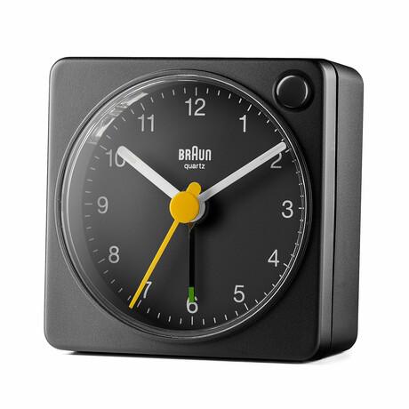 Square Analog Travel Alarm Clock (Black)