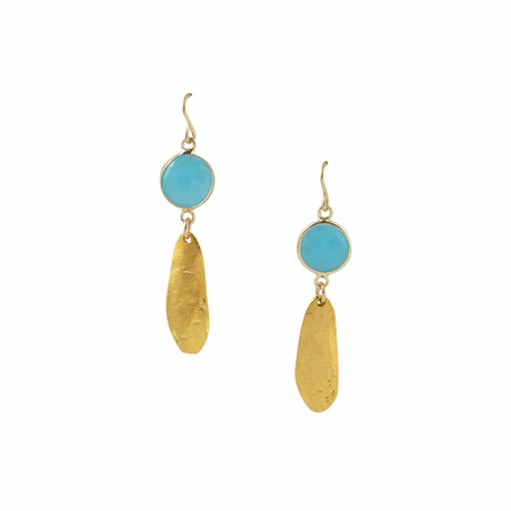 18K Gold Plated Brass + Blue Chalcedony Dangle Earrings // Store Display