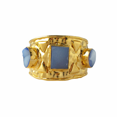 "18K Gold Plated Brass + Drusy Cuff Bracelet // 7"" // Store Display"