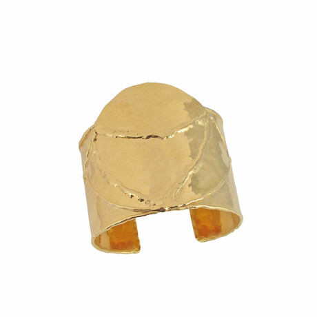 "18K Gold Plated Brass Cuff Bracelet I // 6.75"" // Store Display"