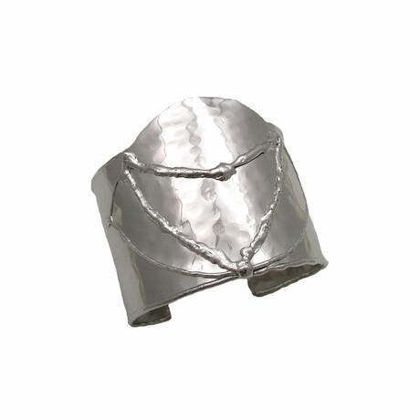 "Rhodium-Plated Brass Cuff Bracelet // 6.75"" // Store Display"
