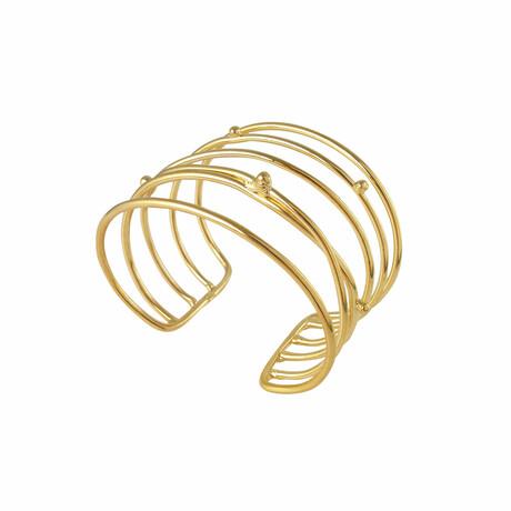 "18K Gold Plated Brass Cuff Bracelet // 7.25"" // Store Display"