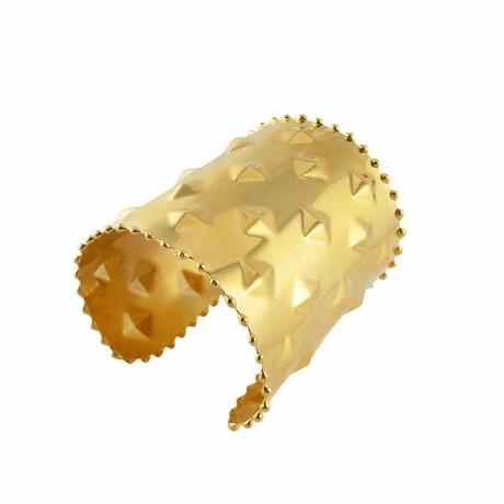 "18K Gold Plated Brass Cuff Bracelet II // 6.75"" // Store Display"