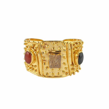 "18K Gold Plated Brass + Wood + Black Onyx Cuff Bracelet // 7.25"" // Store Display"