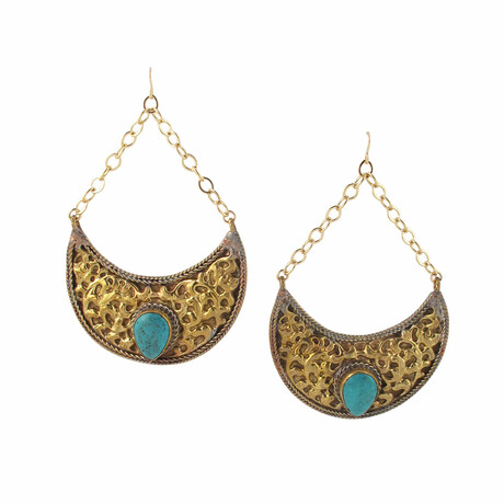 24K Gold Plated Brass + Turquoise Dangle Earrings // Store Display