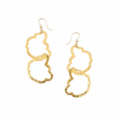 18K Gold Plated Brass + 14K Gold Filled Ear Wire Earrings // Store Display