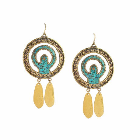 18K Gold Plated Brass + 14K Gold + Turquoise Dangle Earrings // Store Display