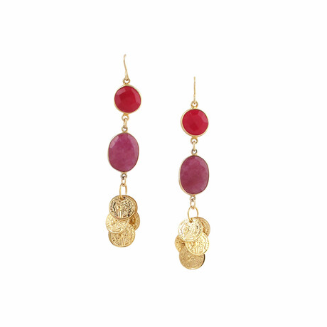 24K Gold Plated Brass + 14K Gold + Ruby Dangle Earrings // Store Display