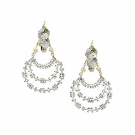 14K Gold + Rhodium Plated Brass Dangle Earrings // Store Display