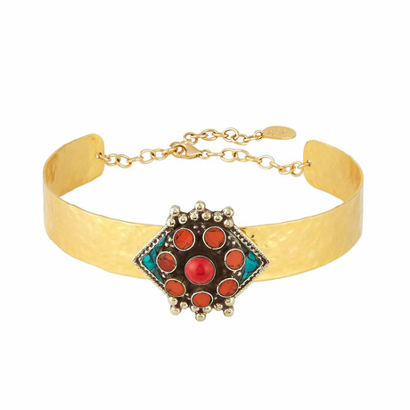 """18K Gold Plated Brass + Coral Choker Necklace II // 13.5"""" // Store Display"""