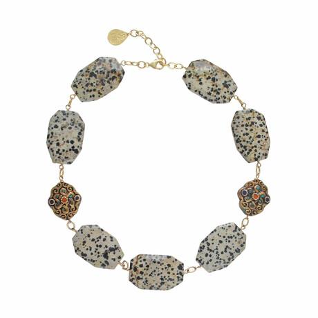 "24K Gold Plated Brass + Dalmatian Jasper Collar Necklace // 18""-20"" // Store Display"
