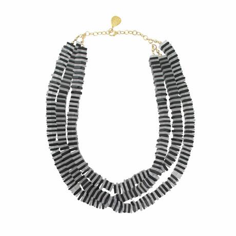 "14K Gold + Black Onyx Multi-Strand Necklace // 18""-20"" // Store Display"