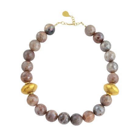 """18K Gold Plated Brass + Orange Moonstone Collar Necklace // 18""""-20"""" // Store Display"""