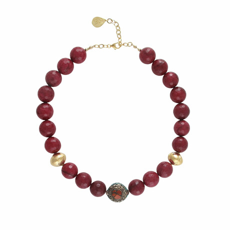 """18K Gold Plated Brass + Red Jade Collar Necklace // 18""""-20"""" // Store Display"""