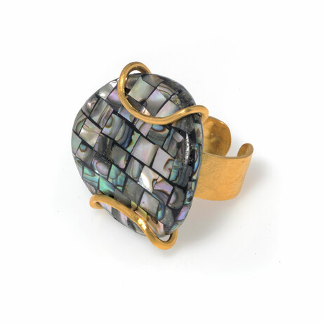 18K Gold Plated Brass + Abalone Shell Ring // Size-Adjustable // Store Display