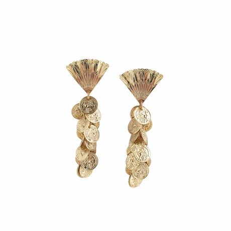 24K Gold Plated Brass + 14K Gold Dangle Earrings // Store Display