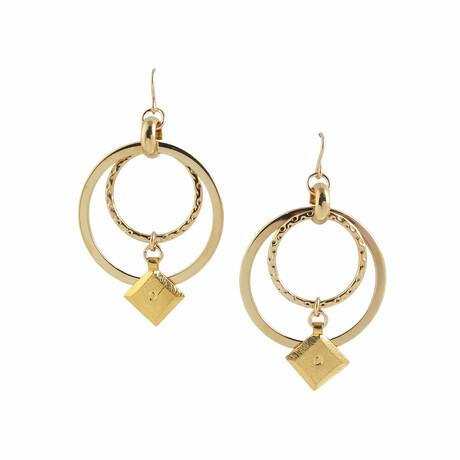 18K Gold Plated Brass + 14K Gold Dangle Earrings // Store Display
