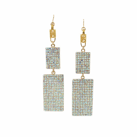 24K Gold Plated Brass + 14K Gold + Crystal Dangle Earrings // Store Display