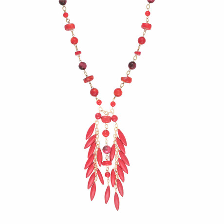 """24K Gold Plated Brass + Red Coral Pendant Necklace // 29"""" // Store Display"""