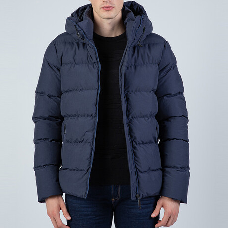 Callan Hooded Puffer Coat // Navy (S)