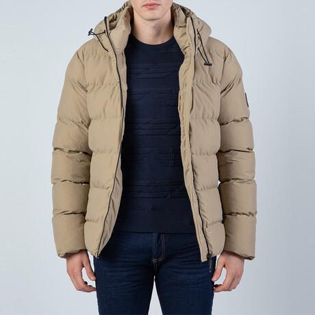 Michael Hooded Puffer Coat // Stone (S)