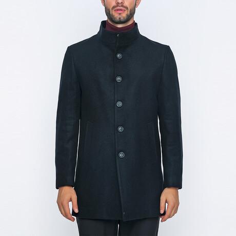 Jed High-Neck Long Winter Coat // Navy (S)
