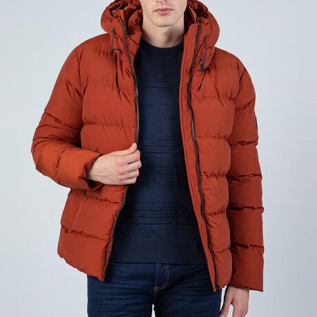 Leighton Hooded Puffer Coat // Brick (S)