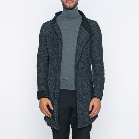 Mason Long Zip-Up Winter Coat // Anthracite + Black (S)